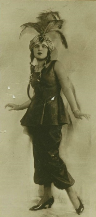 Slobodkina in a bayadere costume that she made and wore to a party in Harbin, ca. 1923.