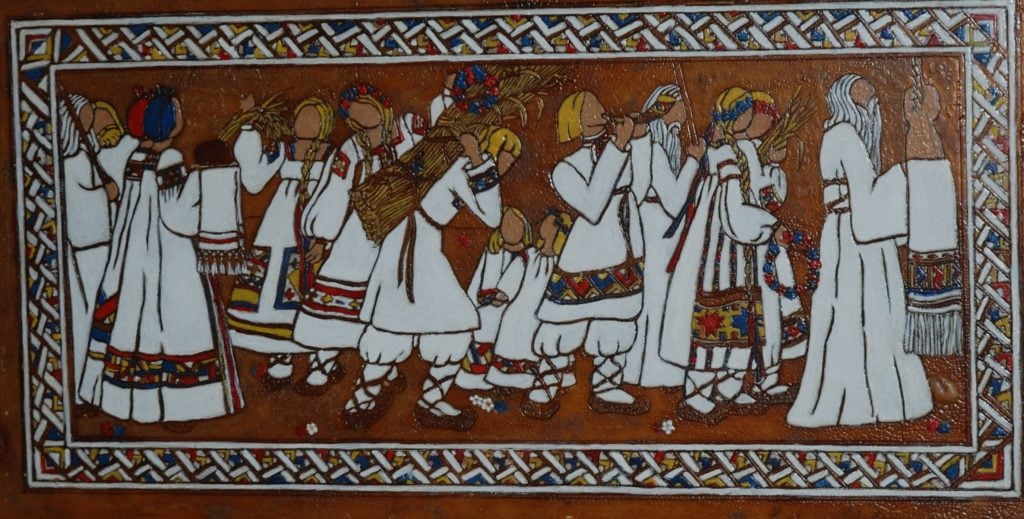 """""""Autumnal Procession in Ancient Russia,"""" c.1929-30, oil on etched shellac-coated glass, Heckscher Museum of Art."""
