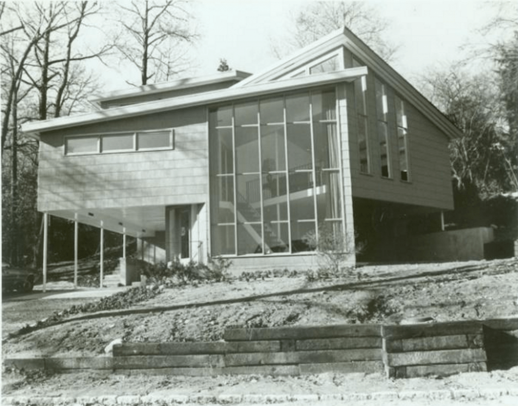 Exterior view of the house that Slobodkina designed for her sister in Great Neck, NY, c. 1972. Photograph by Connie Brukin.