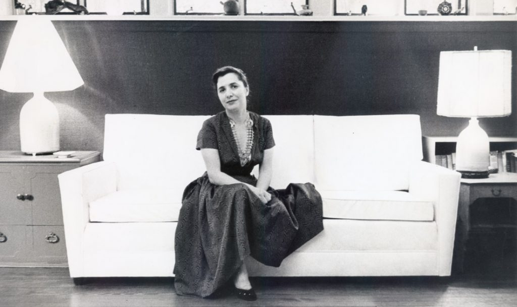 Slobodkina at her Great Neck home, ca. 1950. Photo by Ted Tessler.