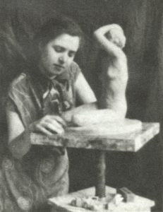 Slobodkina working on a sculpture at the National Academy of Design, ca. 1928-33.