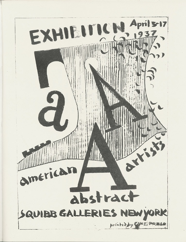 Cover from the A.A.A's first exhibition catalog, Squibb Gallery, 1937.