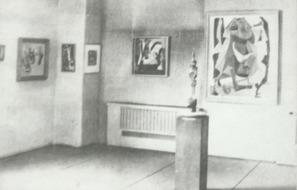 Installation photograph from the first American Abstract Artists show at Squibb Gallery, 1937.