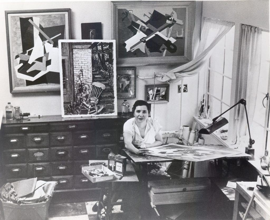 Slobodkina at work in her studio, Great Neck, New York, ca. 1950