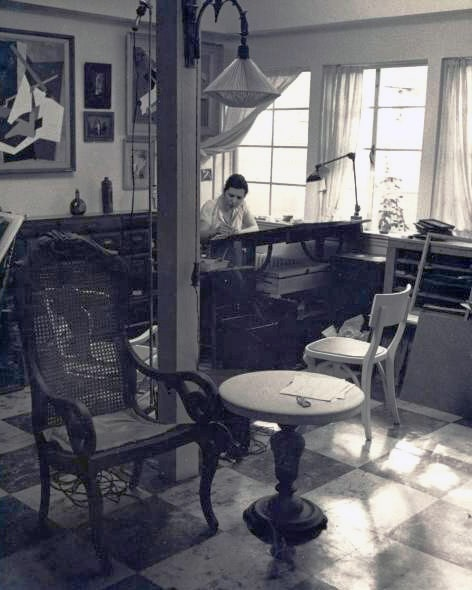 Slobodkina at work in her studio.