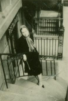 Slobodkina standing outside her 60th street apartment in Manhattan, ca. 1938.