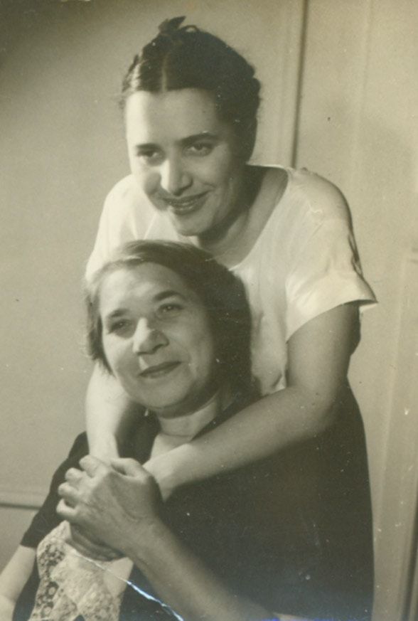 Slobodkina with her mother, Itta, ca. 1950.