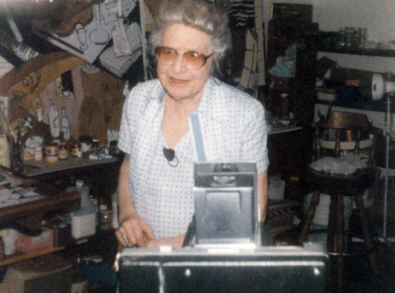 Slobodkina in her Glen Head, New York studio, ca. 2000.